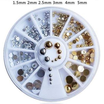 6 Size Gold Silver 3D Nail Art Rhinestone Glitters Acrylic Tips Manicure Wheel t