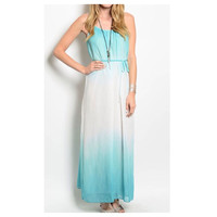 Spring Delite Long Ombré Mint and White Maxi Dress, Spring Summer Fashion