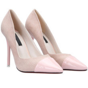 Apricot Pointed Toe Suede High Stiletto Heel Pumps