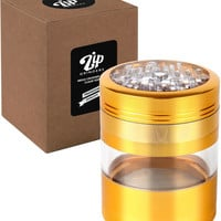 "Golden Large Herb Grinder - Mega Crusher - 2.5"" Clear Top (Gold)"