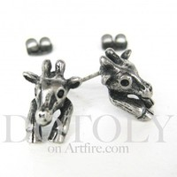 Miniature Giraffe Earrings in silver | dotoly - Jewelry on ArtFire
