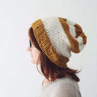 Striped Beanie, Mustard and White Hat, Winter Knitted Beanie, Christmas Gift