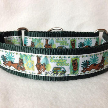 "Nylon w/Scooby Doo & Van Ribbon Leash, Martingale or Quick Release Collar Ribbon Collar 1"" Martingale 1.5"" Martingale"