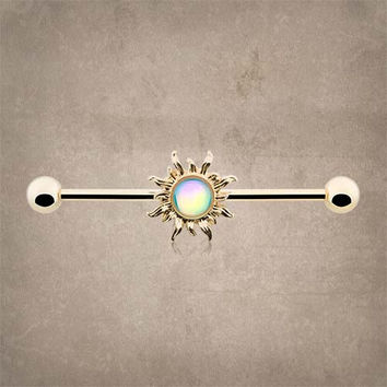 14kt Gold Sun Industrial Barbell Scaffold Piercing