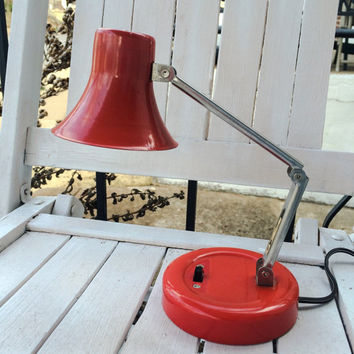 Vintage LAMP RED Modern Mid Century Desk Table adjustable retro chrome Atomic mod MCM flexible table dorm artist lighting space age