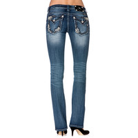 Miss Me Women's Floral Pocket Boot Cut Jeans