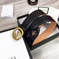 GUCCI New fashion letter buckle metal bee leather couple belt