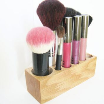 Kabuki Brush Holder Vanity Organizer Oak Wood