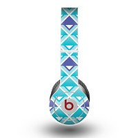 The Triangular Teal & Purple Abstract Cubes Skin for the Beats by Dre Original Solo-Solo HD Headphones