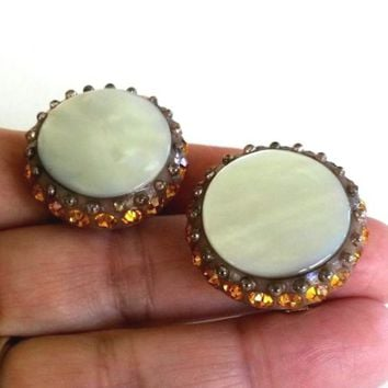 Vintage Mother of Pearl Amber Rhinestone Thermoplastic Clip Earrings