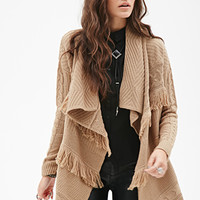 FOREVER 21 Cable Knit Fringe Cardigan