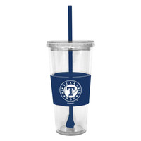 Lidded Cold Cup With Straw - Texas Rangers