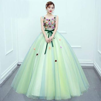 Arrival Candy Color Sweet Evening Dress Princess Ball Gown Bow Fresh Flower Cut-out for Formal Performance