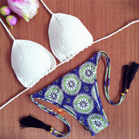Whit Top 3d Print Bottom Crochet Swimwear Women Tiny Shell Bikini Halter Extreme Micro Swimsuits Tassel Thong Bathing Suits