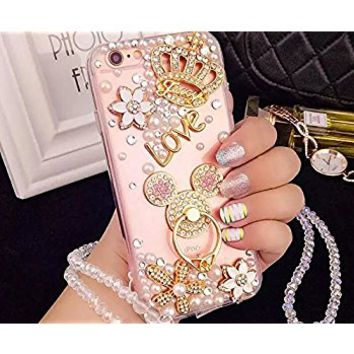 iPhone 7 Plus Diamond Case,iPhone 7 Plus Crystal Rhinestone Case,Luxury Bling Crystal Diamond Clear Back Rhinestone Phone Case Cover For iPhone 7 Plus,Mouse Ears Ring buckle