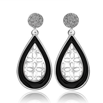 18K White Gold Laser Cut Acorn Shaped Drop Down Earrings Made with Swarovksi Elements