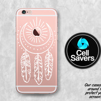 White Dreamcatcher Clear Case iPhone 7 Plus iPhone 6s iPhone 6 iPhone 6 Plus iPhone 5c iPhone SE Clear Case Dream Catcher Sun Crescent Moon