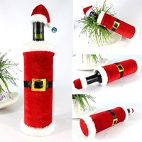 Santa Christmas Red Wine Bottle Sets Cover with Christmas Hat and Clothes for Christmas Dinner Decoration Wine Bottle Jacket Bag (Size: 23cm by 12cm, Color: Red)