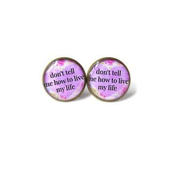 Floral Conversation Heart Lavender Pastel Goth don't tell me how to live my life Stud