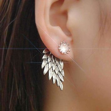 Es101 Womens Angel Wings Stud Earrings Inlaid Crystal Alloy Ear Jewelry Party Earring Gothic Feather Brincos