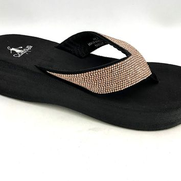 Corky's Jupiter Flip Flop with heel Rose Gold