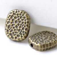 Antique Bronze Hammered Rectangle Rondelle Beads  11x13mm Set of 20 A8137