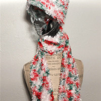 On Sale- Holiday Scarf & Hat, Christmas Scarf and Hat Set, Handmade Knitted Scarf Boa, Feels Like Fur or Soft Feathers