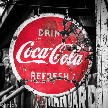 Rusty Coca Cola Sign B&W 8 x 10 Art by HandLPhotographyTN on Etsy