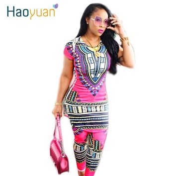 HAOYUAN 2018 Dashiki Traditional African Clothing Two Piece Set Women Africaine Print Bodycon Dress+Pants African Clothes