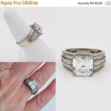 ON SALE Vintage 925 Sterling Silver & CZ Solitaire Ring, Princess Cut, Engagement, Wedding, Right Hand Ring, Promise Ring, Stunning! #b262