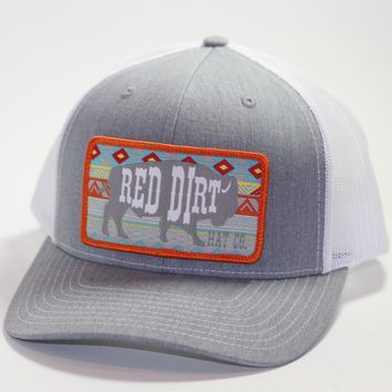 "Red Dirt Hat Co ""Aztec Buffalo"" Heather Grey / White  Snap Back Trucker Hat"