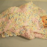 Crochet Baby Blanket--Pink with Pink shaded-Baby Shower-#7