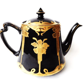 Art Nouveau Black Mourning Teapot / Victorian Gold Luster Tea Pot / Samuel Johnson Staffordshire England Pottery / Victorian Home Decor