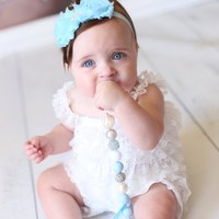 Light Blue Shabby Chic Flower Headband...Baby Girls Headband..Girls Hair Bows..Newborn Headband...Pageant Wear...Princess Headband