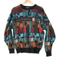 Shop Now! Ugly Sweaters: Orange and Teal Tacky Ugly Cosby Sweater (Cotton) Men's Size Large (L) $20 - The Ugly Sweater Shop