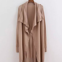 Beige Drape Wrap Coat