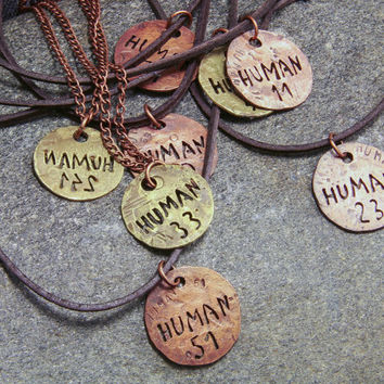 Custom HUMAN necklace, post-apocalyptic man's necklace