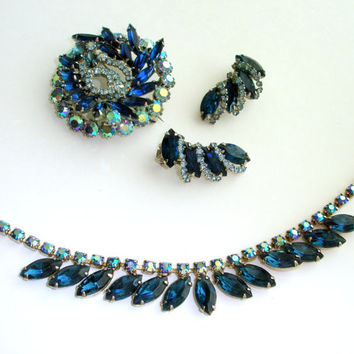 Signed Vintage Weiss Blue Rhinestone Jewelry Set, Aurora Borealis Necklace Brooch Earrings, Large Crystal Pin, 1950s Mid Century Demi Parure