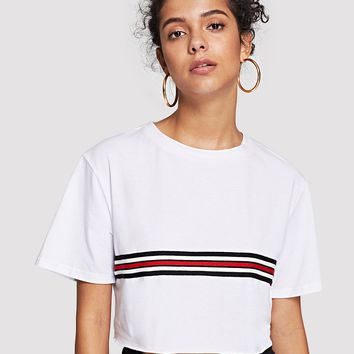 Striped Tape Detail Crop Tee