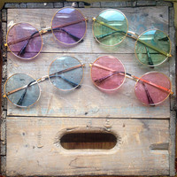 Oversized Round Sunglasses Vintage Pastel Hippie Circle Glasses - Janis