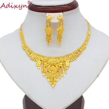 Adixyn Cheap Price 3 Mixed Styles Jewelry Set Gold Color Necklace Earrings Luxury Arab African Wedding Party Gifts  N080913