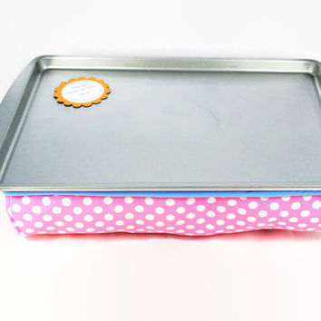 LIMITED EDITION: Pink Polka Dot Magnetic Travel Lap Desk // Travel Chalkboard Activity Tray // Portable Magnetic Chalkboard Art Tray