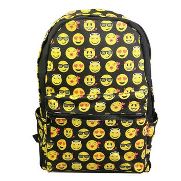 Jungen Unisex Canvas Emoji School Book Bag Smiley Backpack Smiling Face Day Pack Shoulder Schoolbag Student Kid Boy Girl Pockets [8081693959]