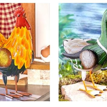 Metal Animal Sculpture Rooster or Duck Colorful Indoor/Outdoor Farmhouse Decor