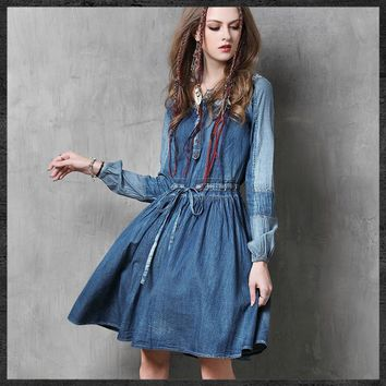 The 2017 Fall Fashion Brand Ladies Stitching Denim Dress Embroidered Retro African Women Clothes Casual Wear