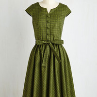 Vintage Inspired Long Short Sleeves A-line Of Hearth and Home Dress by ModCloth