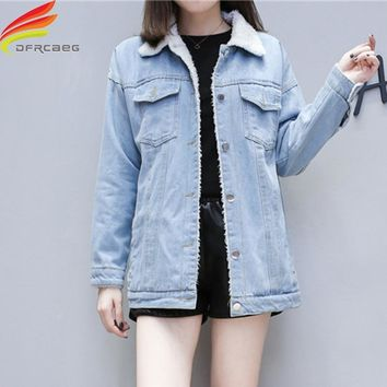 Trendy Lamb Cashmere Denim Fur Jackets Winter 2018 New Arrival Single Breasted Double Pockets Long Coat Women Street Style Warm Coats AT_94_13