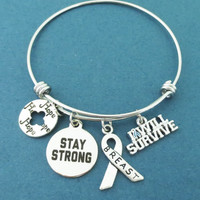 STAY STRONG, Breast, I will survive, Hope, Silver, Bangle, Bracelet, Breast, Cancer, Survival, Overcome, Jewelry