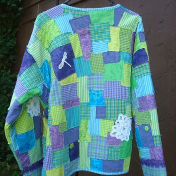 Blue Green and Purple Quilted Jacket Coat OOAK