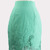 Green Embroidered Skirt
